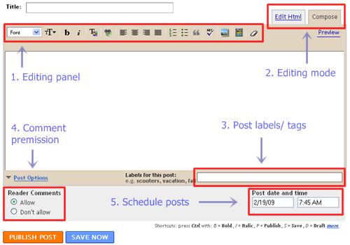 blogspot posting editing panel/ window