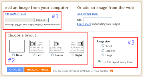 image upload window on blogger