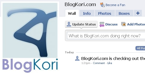 New facebook fan page of blogkori