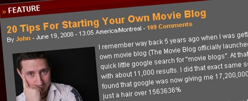From John's archive, 20 Tips For Starting Your Own Movie Blog blogkori