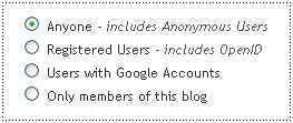 who can comment on blogspot? permissions