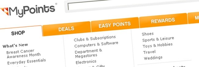 earn money, rebates and deals with mypoints