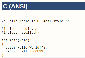 Hello World program in