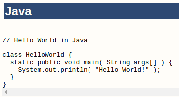 Hello World program in Java