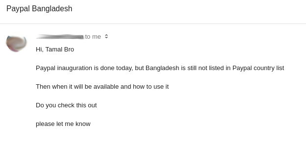 question about paypal in Bangladesh