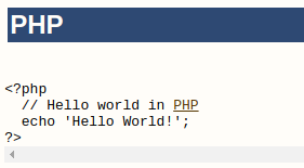 Hello World program in PHP